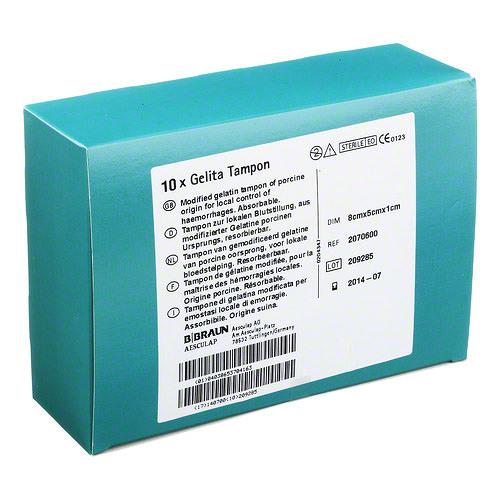 GELITA TAMPON-GĄBKA HEMOSTAT. 8 X 5 X 1 CM
