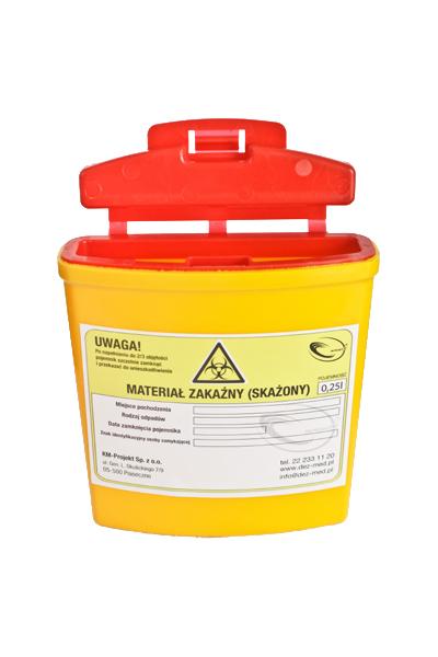 Pojemnik na ostre odpady medyczne STANDARD 0,25L żółty