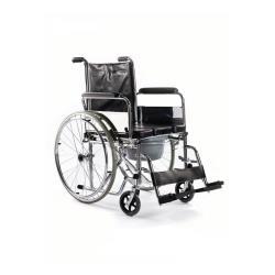 Wózek inwalidzki toaletowy z pełnymi tylnymi kołami i siedzieskiem typu U roz. 45 cm