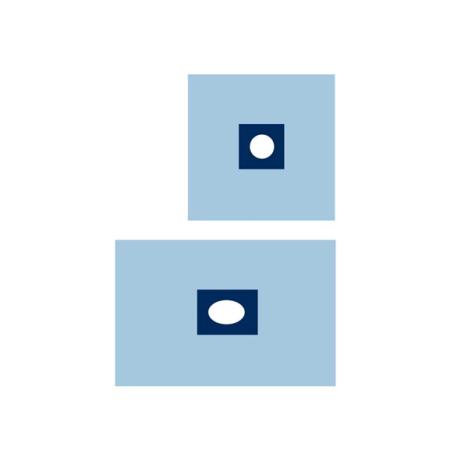 Serweta włókninowa jałowa, 2 warstwy, 50 x 75 cm, z centralnym otworem przylepnym ⌀ 7 cm