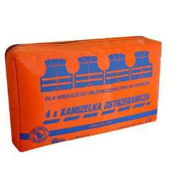 Zestaw 4 kamizelek ostrzegawczych w opakowaniu z tkaniny wodoodpornej