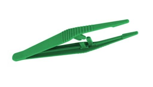 Pęseta plastikowa 13 cm jałowa zielona