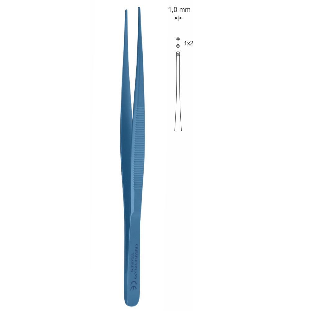 Pinceta delikatna chirurgiczna, dł. 130 mm, czubek 1 mm, prosta, z tytanu