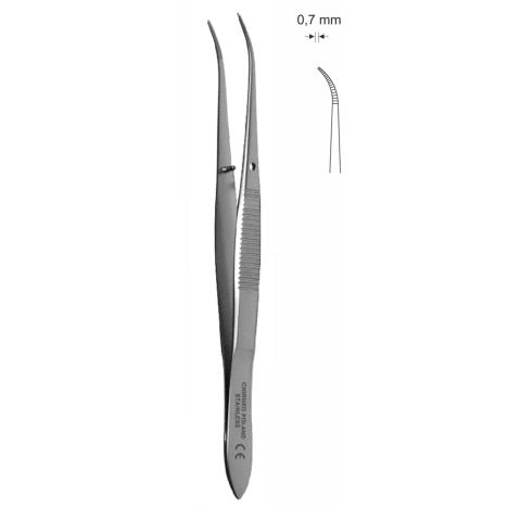 Pinceta do tęczówki odgięta, dł. 100 mm, czubek 0,7 mm