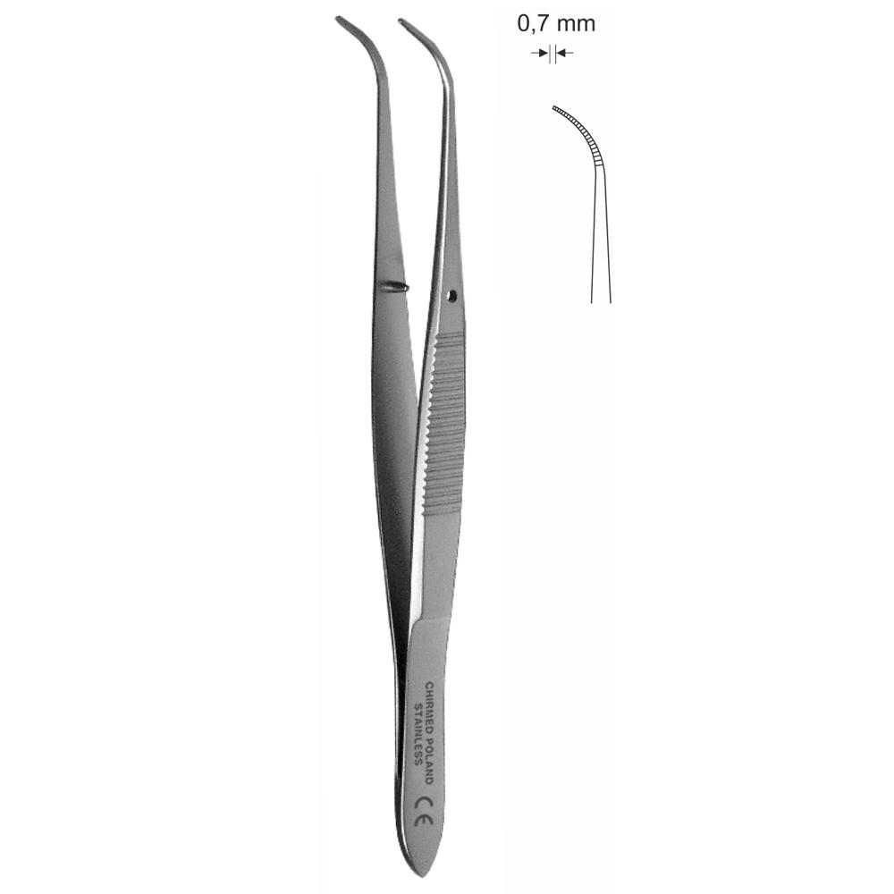 Pinceta okulistyczna, odgięta dł. 100 mm, czubek 0,7 mm.