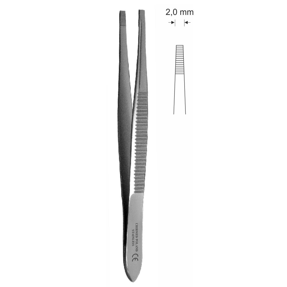 Pinceta epilacyjna z wąskimi końcami, dł. 80 mm, czubek 2 mm, prosta