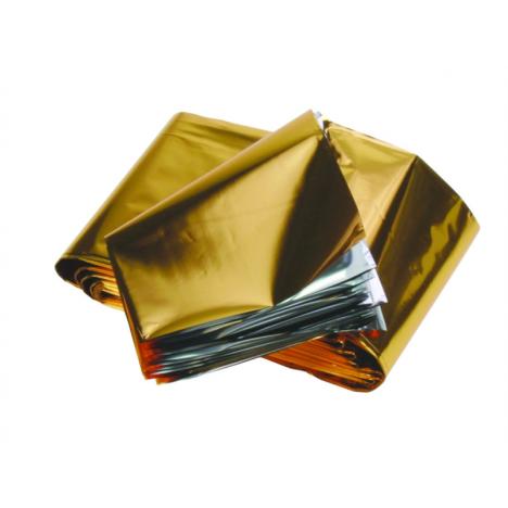 Folia srebrno-złota tzw. koc życia, 160x 210 cm, saszetka