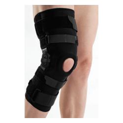 Długi stabilizator stawu kolanowego z szynami zamknięty