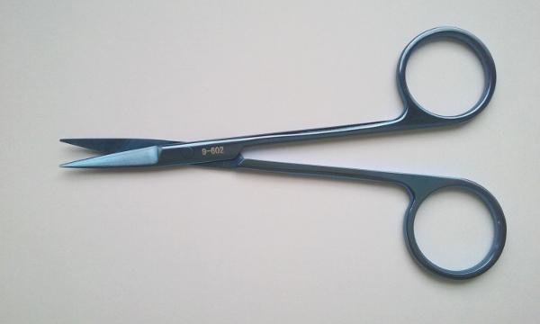 Nożyczki oczne, zakrzywione, tępe końcówki (9-602)