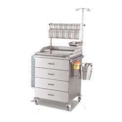 Wózek medyczny z czterema szufladami i wyposażeniem