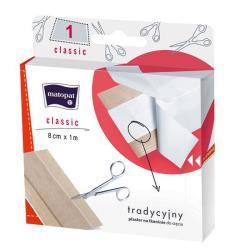 CLASSIC plaster z opatrunkiemna tkaninie do cięcia 8 cm x 1 m, 1 szt.