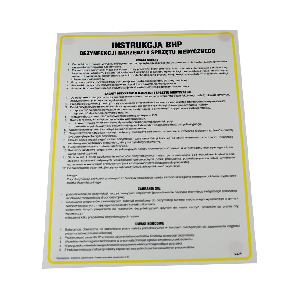 Instrukcja BHP  dezynfekcji narzędzi i sprzętu medycznego