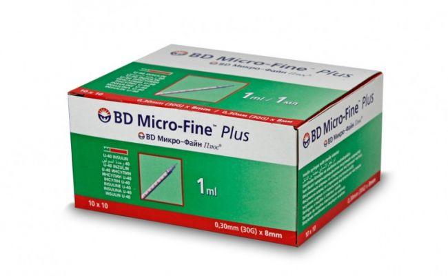 Strzykawka do insuliny BD 1 ml, 0,30 mm x 8 mm (G-30), U- 40 - 10 x 10 szt.