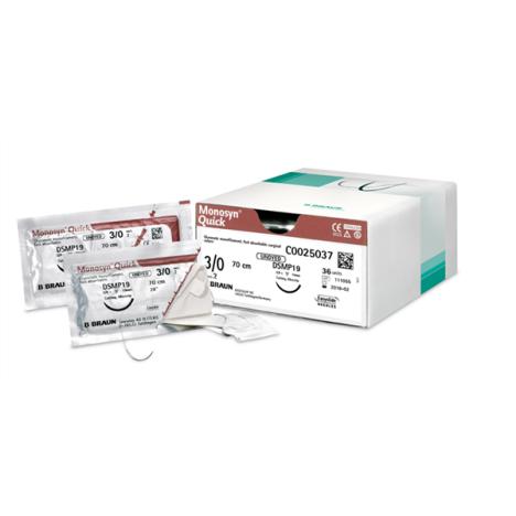 Szwy chirurgiczne - Monosyn®Quick 3/8 koła 4/0 DS19 45cm- bezbarwny-wchłanialne -1 szt.